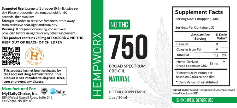 Hempworx 750 mg Label | Broad Spectrum